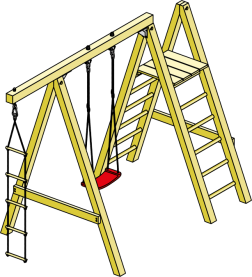 Kletterschaukel Ben KDI 290x180x220 cm mit Strickleiter und Kletterleiter